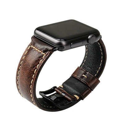 Oil Wax Dark Brown Leather Strap with Black Buckle Watchband For Apple Watch(42mm & 38mm) 3, 2 & 1. - MM Watch 4U Store | Quality & Style