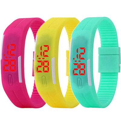 Unisex Men's Ladies' Sport Silicone Bangle Digital LED Jelly Waterproof Watch