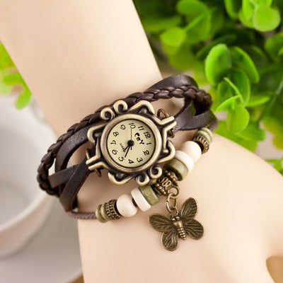 Antique Butterfly Leather Bracelet Vintage Ladies' Wrist Watch