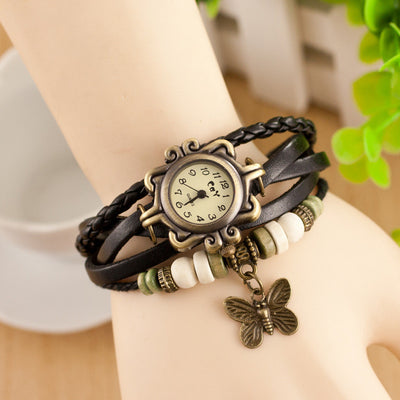 Antique Butterfly Leather Bracelet Vintage Ladies' Wrist Watch - MM Watch 4U Store | Quality & Style