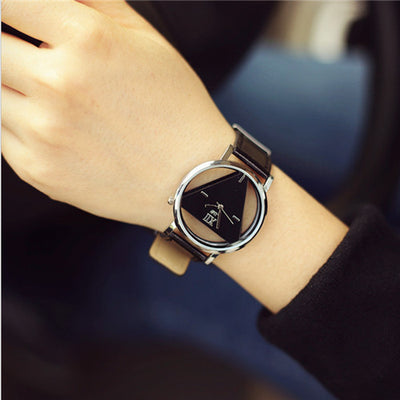 Leather Band Stainless Steel Sport Analog Quartz Women Mens Wrist Fashion Watch