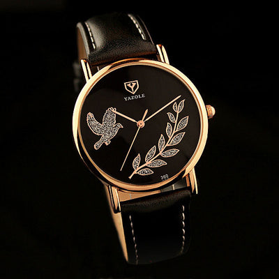Yazole 2016 Ladies' Brand Famous Bird Leaves Style Quartz Watch