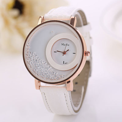 Hot PU Leather Quicksand Rhinestone Ladies' Quartz Watch