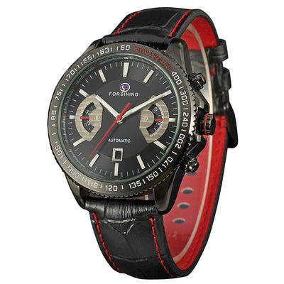 Forsinning Classic Black Red Automatic Men's Military Real Genuine Leather Strap Watch