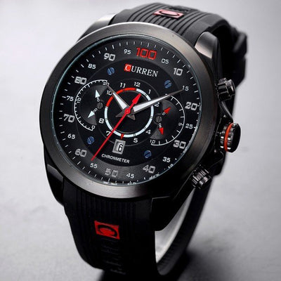 Curren New Fashion Men's Military Brand Design Army Calendar Rubber Luxury Wrist Watch