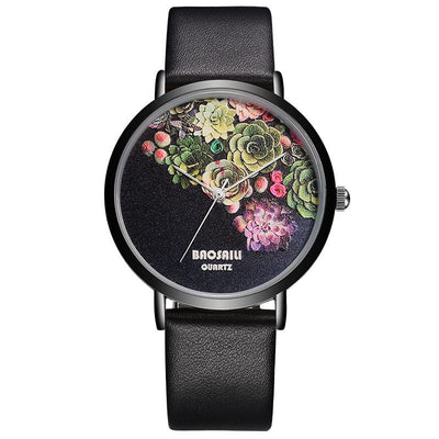 Floral Design Ladies' Black Case Water Resistant Watch - MM Watch 4U Store | Quality & Style
