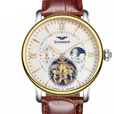 Guanqin Sport Leather Men's Tourbillon Automatic With Moon Phase Watch