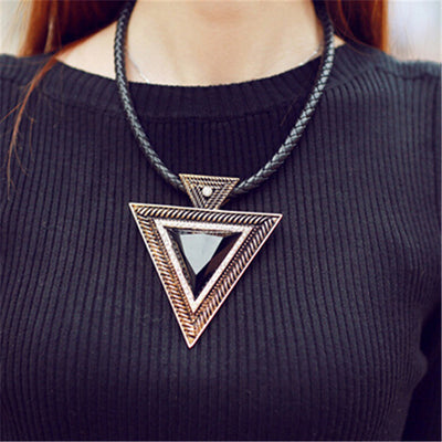 Black Choker Leather Pendant Rhinestone Triangle Necklace