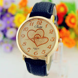 Botti Numerals Faux Leather Band Ladies' Analog Quartz Romantic Double Heart Fashion Watch