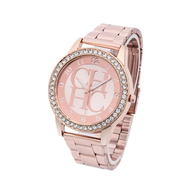 Guote Fashion Luxury Brand Ladies Gold Steel Quartz Watch