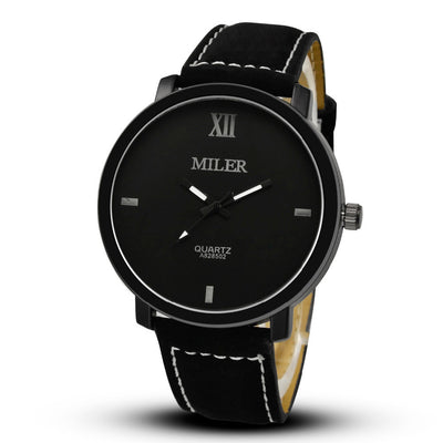 Miler Fashion Round Leather Men's Glass Analog Quartz Watch