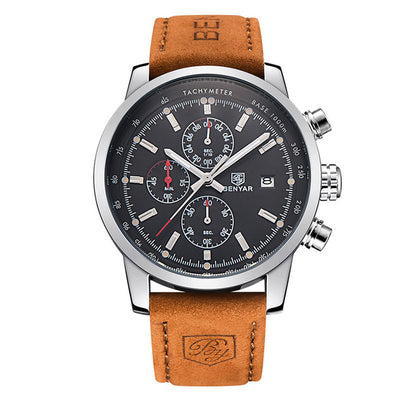 Benyar Sport Suit Men's Leather Band Military Quartz Watch