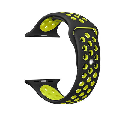 Black Yellow Silicone Sport Watch Band for Apple Watch Series 1 2 & 3 - MM Watch 4U Store | Quality & Style