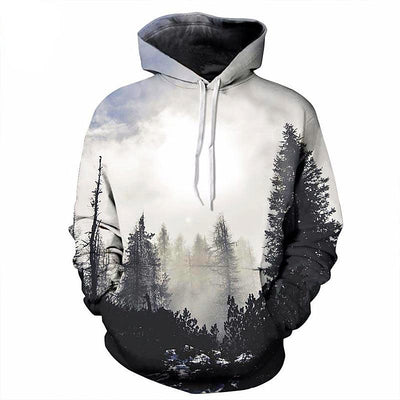 Autumn Winter Unisex Thin 3D Print Trees Hooded Hoodie Sweatshirt With Hat