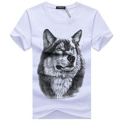 Wolf Men's Casual Cotton Printed Short Sleeve T-Shirt