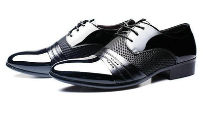 Men's Leather Business Wedding Lace Up Pointed Toe Flat Style Formal Shoes - MM Watch 4U Store | Quality & Style