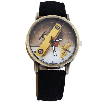 Children's Plane Design Cartoon Denim Leather Quartz Dial Watch