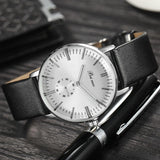 Beinuo Fashion Luxury Brand Men's Business Leather Strap Watch With Small Dial