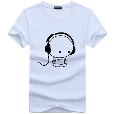 Men's Music Lover Cartoon Printed Short Sleeve T-Shirt
