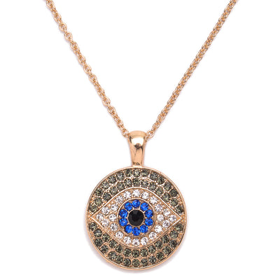 Blue Turkey Evil Eye Pendant Necklace