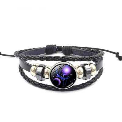 Unisex Zodiac Glass Metal Buckle Multilayer Charm Constellation Leather Bracelet