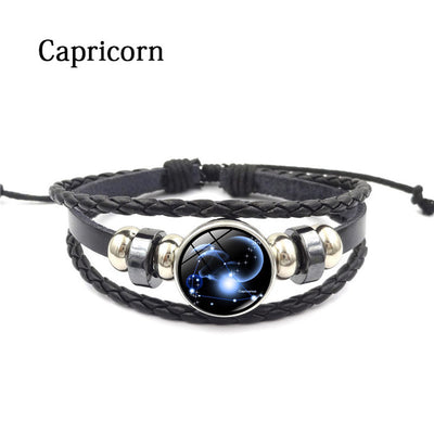 Unisex Zodiac Glass Metal Buckle Multilayer Charm Constellation Leather Bracelet - MM Watch 4U Store | Quality & Style