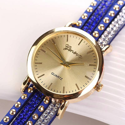 Trendy Crystal Rivet Wraparound Bracelet Watch - MM Watch 4U Store | Quality & Style