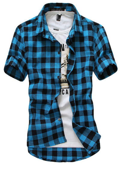 Men's Plaid Summer Casual Short Sleeve Shirt - MM Watch 4U Store | Quality & Style