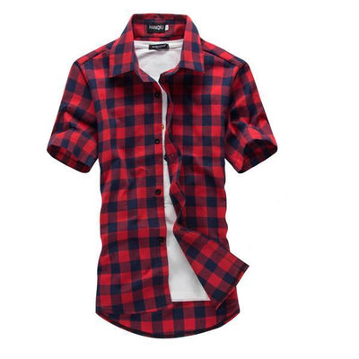 Men's Plaid Summer Casual Short Sleeve Shirt