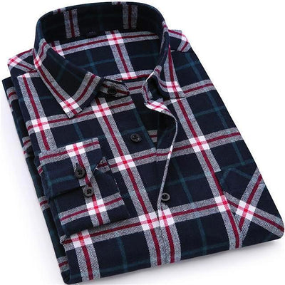 Men's Flannel Plaid Casual Long Sleeve Shirt Soft Comfort Slim Fit Shirt
