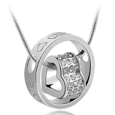 Rhinestone Heart Bridal Wedding Jewelry Pendant Necklace