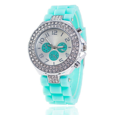 Geneva Fashion Silicone Ladies' Crystal Jelly Rhinestone Watch