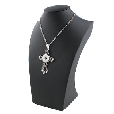 Snap Buttons Necklaces Link Chain With Cross Pendant - MM Watch 4U Store | Quality & Style