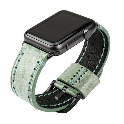 Green Black Genuine Leather Watchband For Apple Watch Series 1 2 & 3 - MM Watch 4U Store | Quality & Style
