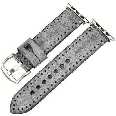 Grey Silver Genuine Leather Watchband For Apple Watch Series 1 2 & 3 - MM Watch 4U Store | Quality & Style