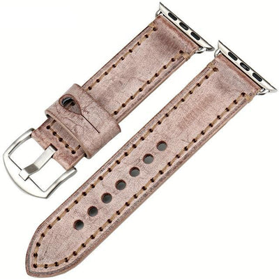 Brown Silver Genuine Leather Watchband For Apple Watch Series 1 2 & 3 - MM Watch 4U Store | Quality & Style