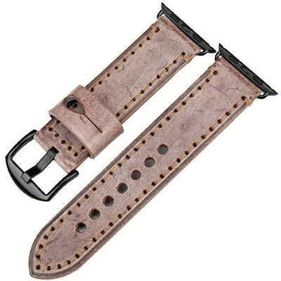 Brown Black Genuine Leather Watchband For Apple Watch Series 1 2 & 3 - MM Watch 4U Store | Quality & Style