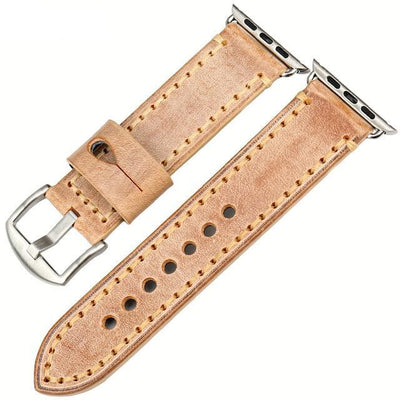 Orange Silver Genuine Leather  Watchband For Apple Watch Series 1 2 & 3 - MM Watch 4U Store | Quality & Style