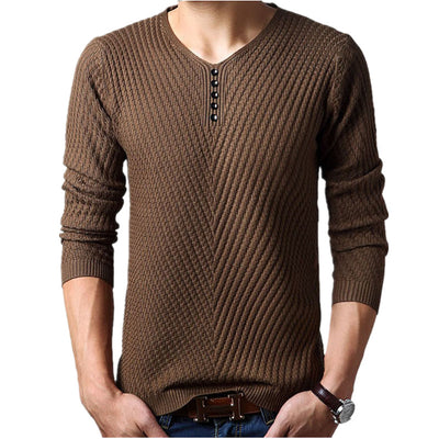 Men's Henley Neck Cashmere Pullover Knitted Sweater