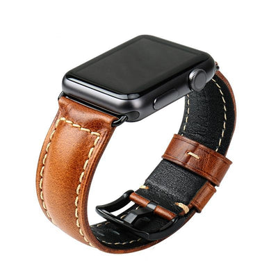 Oil Wax Leather Watchband For Apple Watch (42mm & 38mm) 3 2 & 1 - MM Watch 4U Store | Quality & Style