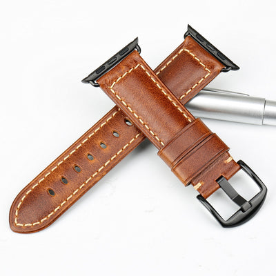 Oil Wax Blue Leather Strap with Silver Buckle Watchband For Apple Watch(42mm & 38mm) 3, 2 & 1. - MM Watch 4U Store | Quality & Style