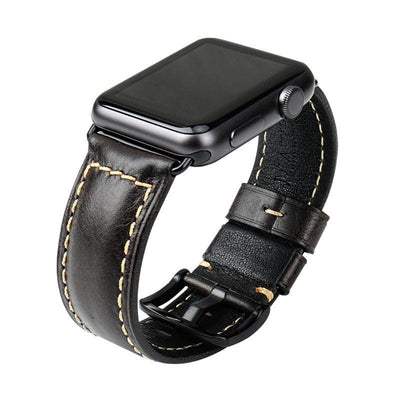 Oil Wax Black Leather Strap with Silver Buckle Watchband For Apple Watch(42mm & 38mm) 3, 2 & 1. - MM Watch 4U Store | Quality & Style