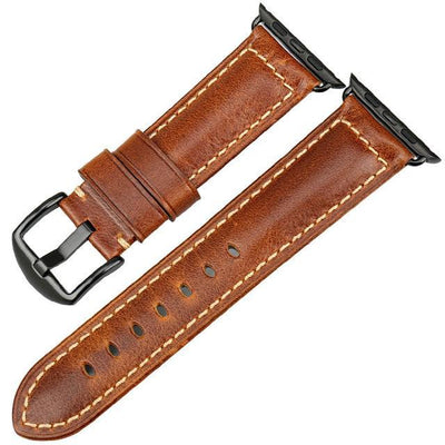 Oil Wax Light Brown Leather Strap with Black Buckle Watchband For Apple Watch(42mm & 38mm) 3, 2 & 1. - MM Watch 4U Store | Quality & Style