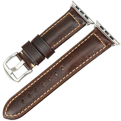 Oil Wax Dark Brown Leather Strap with Silver Buckle Watchband For Apple Watch(42mm & 38mm) 3, 2 & 1. - MM Watch 4U Store | Quality & Style