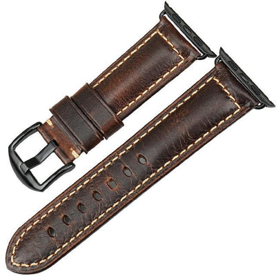 Oil Wax Leather Watchband For Apple Watch (42/44mm & 38/40mm) 4 3 2 & 1 - MM Watch 4U Store | Quality & Style