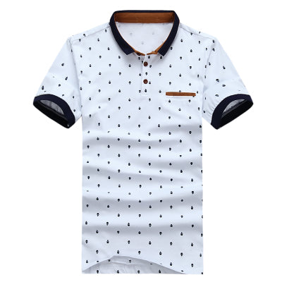 Men's Cotton Fashion Skull Dots Print Polo Summer Short Sleeve Polo Shirt - MM Watch 4U Store | Quality & Style