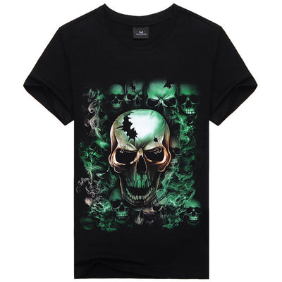Men's 3D Print Nightmare Skull Short Sleeve Casual T-Shirt