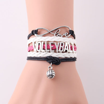 Love Volleyball Charm Leather Bracelet For Ladies' - MM Watch 4U Store | Quality & Style