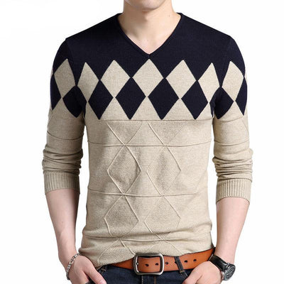 Men's Cashmere Wool Seasonal Slim Fit Pullovers Argyle Pattern V-Neck Sweater - MM Watch 4U Store | Quality & Style