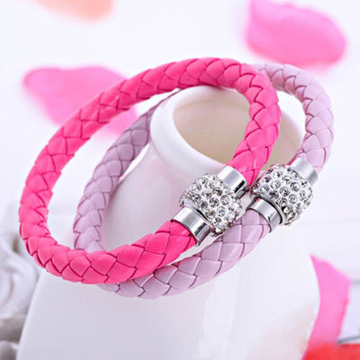 Handmade Magnetic Leather Buckle Bangle Wristband Bracelet